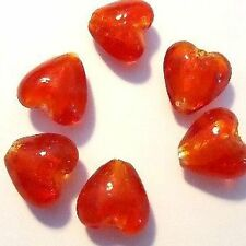 10 pieces 12mm Silver Foil Heart Beads - Bright Red - A3944