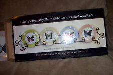 SCROLLED BLACK WROUGH IRON WALL ART PLAQUE HOLDS 4 BUTTERFLY BUTTERFLIE  PLATES