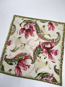 French Country April Cornell Floral Cotton Square Pillow Cover •16x16 *EUC