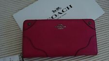 NWT Coach Leather Mickie Accordion Zip Wallet F52645 Red w/Box Grad Sale