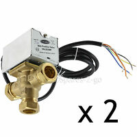 2 x TOWER VAL322MP Motorised Mid Position Central Heating Valve 22mm 3 Port
