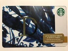 STARBUCKS Card Christmas 2014 Monogram Alphabet Series Letter D - Free Shipping