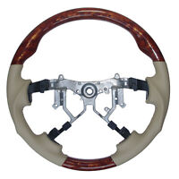 Tan Leather Wood Sports Steering Wheel for 2007-2013 Toyota Sequoia Tundra