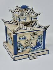 More details for willow blue pagoda pattern reuge wooden music trinket box vintage chinese style