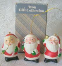 Vintage Avon 3 Santas Christmas Ornaments Santa Claus Trio