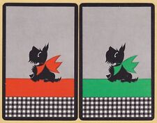 2 Single VINTAGE Swap/Playing Cards BLACK SCOTTIE DOGS OR/GRN 'MALCOLM DB-8-13'