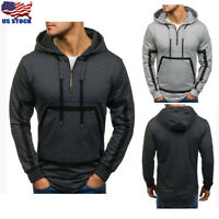 Men's Hooded Plain Sweatshirt Sweater Pullover Hoodie Casual Jacket Outwear Coat