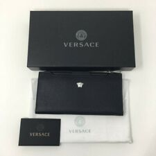 VERSACE Grained leather Long Wallet with Medusa Signature Branding - Black