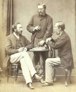 Victorian CDV Photo Men Talking Smoking Milne Studio Arbroath Scotland 1860s-70s