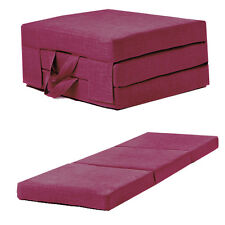 Pink Linen Effect Single Chair Z Bed Folding Futon Fold Out Foam Guest Mattress