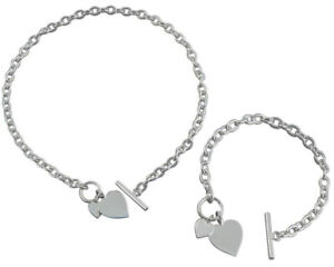 Necklace and Bracelet Set with Double Heart Tag Sterling Silver Bar and Toggle