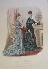 GRAVURE EN COULEUR 19ème MODE ILLUSTREE 1877 N° 42 TOILETTES MADAME FLADRY