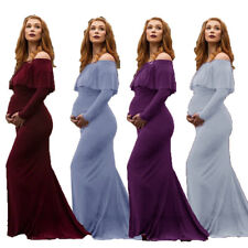 Pregnant Women Off Shoulder Party Dresses Ruffle Maternity Photography Clothes