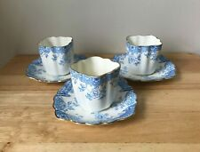 3 William Adams & Sons Genoa Antique Blue White Cup & Saucer Sets - England