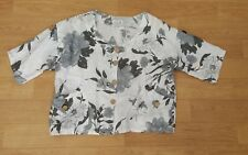 MADE IN ITALY BLACK WHITE GREY FLORAL PRINT LINEN SHIRT JACKET SZ L BNWT RRP £26