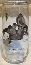 Norman Rockwell A Lickin' Good Bath Drinking Glass 16 Oz Mint Condition