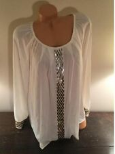 Macy's Alfani Womens Blouse Sequined front & Cuff 14W White Retails $85 NWT