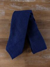 auth DRAKE'S Drakes of London blue wool silk linen self-tipped tie - NWOT