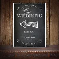 PERSONALISED DIRECTION LEFT ARROW WEDDING SIGN VINTAGE CHALKBOARD - A