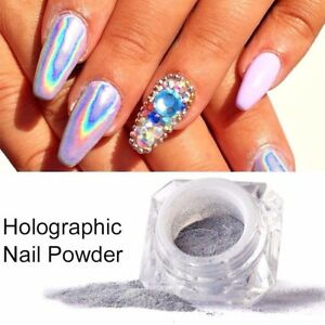 Holographic Glitter Nail Powder Laser Pink Manicure Art Chrome Gel Polish Dust