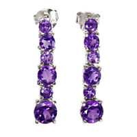 Unheated Round Cut Purple Amethyst 6mm Natural 925 Sterling Silver Earrings