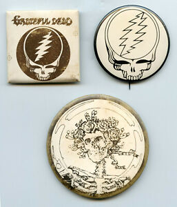 Grateful Dead Vintage Test Button Set Pinback Pins Collection Skull Roses BP50