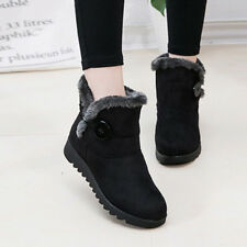 Womens Platform Fur Lined Flat Snow Boots Casual Ladies Buttons Ankle Shoes Size