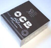 1 Box OCB BLACK PREMIUM SLIM Long Papers KS King Size 50 Heftchen à 32 Blättchen