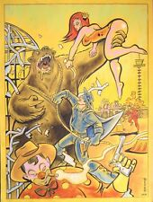 ORIGINAL, HUGE COMIC ART CIRCUS GRIZZLY ESCAPE ADVENTURE SCI FI PULP  PAINTING