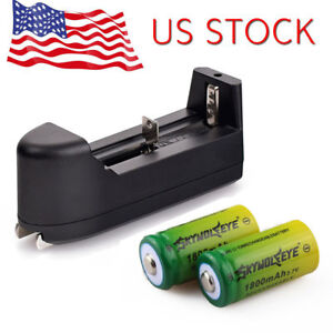 2pc SKYWOLFEYE 1800mAh 16340 3.7V Rechargeable Li-Ion Battery +Charger For Torch