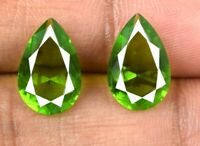 Olive Green Peridot Loose Gemstone Pair 4.45 Carat Natural Pear AGSL Certified