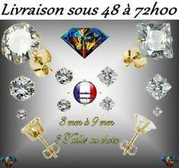 BOUCLE D'OREILLE HOMME FEMME PLAQUE OR ZIRCON 3 TAILLES ZIRCONIUM DIAMANT
