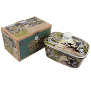 Collie and Sheep Farm Scene Butter Dish by The Leonardo Collection Gift Boxed