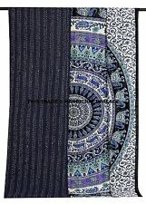 Indian Queen Kantha Quilt Elephant Mandala Bedspread Reversible Cotton Blanket