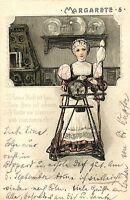 "Namenstag ""Margarete"", Frau am Spinnrad, Prägekarte,1903 in Gummersbach versandt"