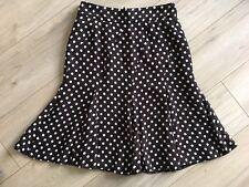 HOBBs Cute Brown Polka Dot Flared Knee Length Skirt 8 VGC Work Smart Spotty