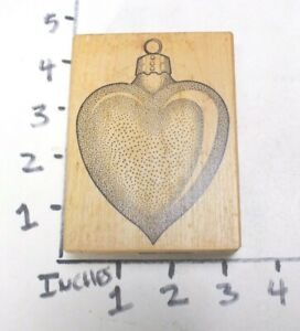 Wooden RUBBER STAMP Block Christmas Heart Ornament by Stampa Barbara