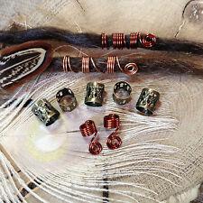 Dread Beads and Spiral Coils 9 x 6mm Hole Copper Autumn Handmade Dreadlock Wrap