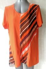 Lovely Orange, Brown & White Panelled Top, Cap Sleeves,  Plus Size 20 NWOT