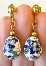 Floral Hand Painted Enamel Gold Plated  Egg Shaped Drop Dangle Earrings