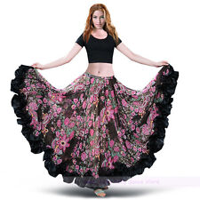 New Belly Dance Flamingo Gypsy Bohemia Skirt 360° Opening Dance Flower Skirt