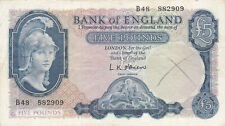 5 POUNDS FINE BANKNOTE FROM BANK OF ENGLAND 1961-63  PICK-372