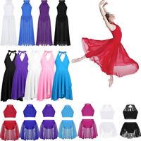 Girls Lyrical Ballet Dance Dress Costume Praise Liturgical Maxi Skirt Dancewear