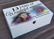 White personalised wooden box, keepsake jewellery box, 13th birthday memory gift