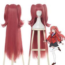 "Kakegurui Yumemi Yumemite 39"" Long Straight 2 Ponytails Bangs Pink Cosplay Wig"
