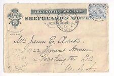 1906 Shepheards Hotel Egypt, Advertising and Origination, 1P Pyramid #37 to U.S.