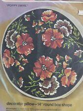 "Bucilla Needlepoint 4767 Poppy Swirl Pillow 14"" Round Flowers"