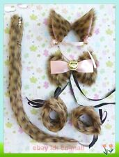 Lolita Party Anime Cosplay Costume Cat Ears Hair clip Tail Wristband Bow Tie set