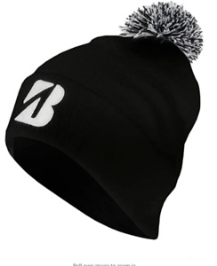 Bridgestone Golf Pom Pom Winter Beanie Hat / Cap COLOR: Black w/ White