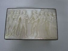 ANTIQUE FRENCH CARVED MOTHER OF PEARL SILVER TRINKET BOX w NAPOLEON SCENE